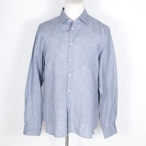 CP Company 100% Linen Blue-Gray Button Front Shirt
